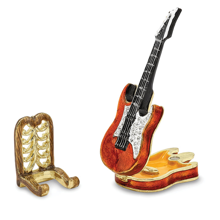 Bejeweled Red Guitar Trinket Box with Charm Pendant