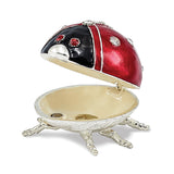 Bejeweled Enameled Ladybug Trinket Box with Charm Pendant