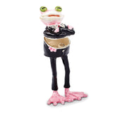 Bejeweled Frog Wearing Tux Trinket Box with Charm Pendant