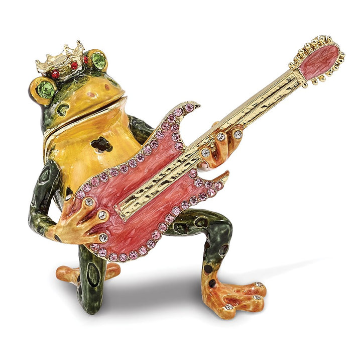 Bejeweled Frog with Guitar Trinket Box with Charm Pendant