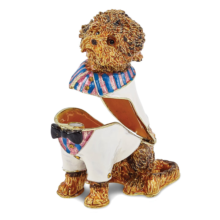Bejeweled Labradoodle Wearing Shirt Trinket Box with Charm Pendant