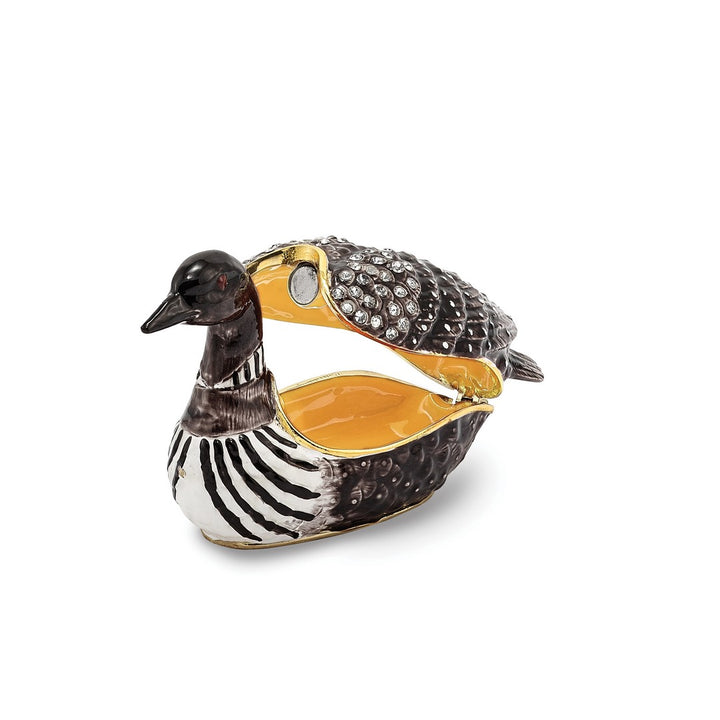 Bejeweled Loon Duck Trinket Box with Charm Pendant