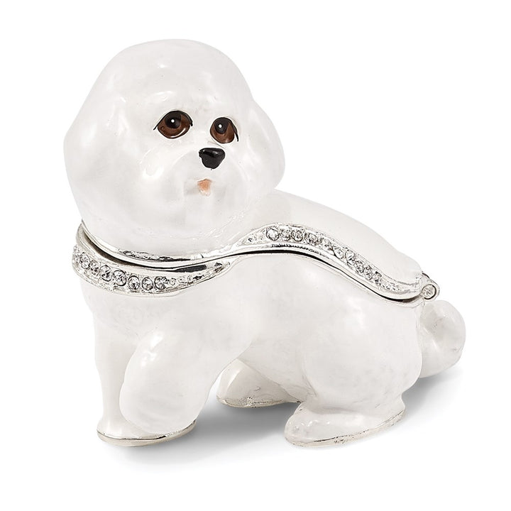 Bejeweled White Bichon Frise Dog Trinket Box with Charm Pendant