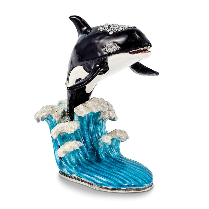 Bejeweled Orca on Wave Trinket Box with Charm Pendant