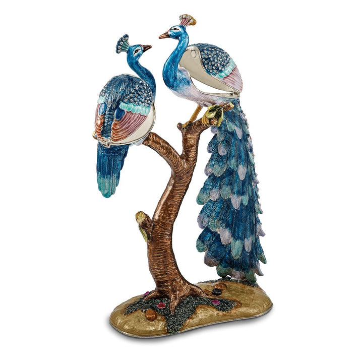 Bejeweled Large Peacock Lovers Trinket Box with Charm Pendant