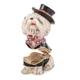 Bejeweled Dressed Up Bichon Dog Trinket Box with Charm Pendant