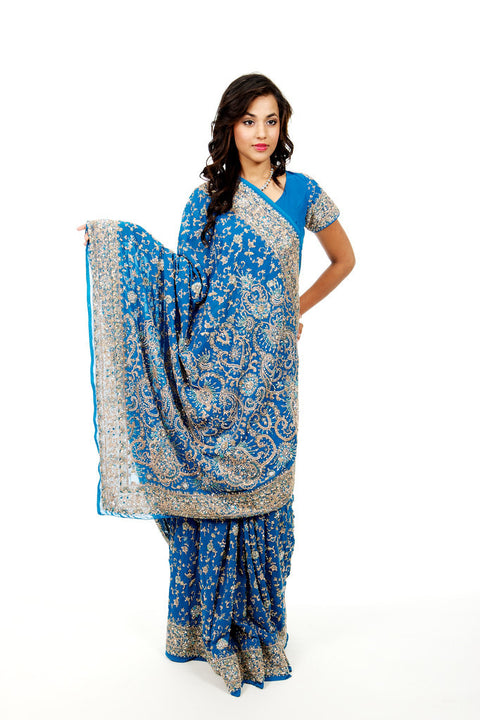 Heavy Bridal Blue Indian Wedding Sari