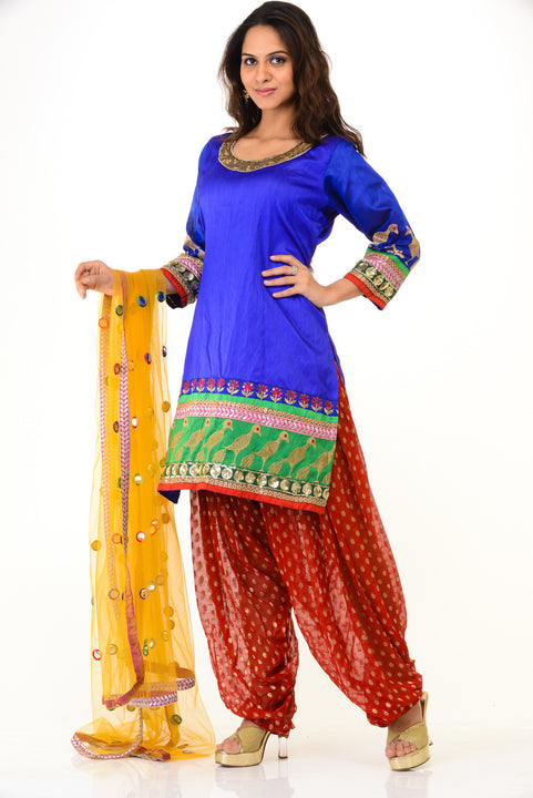 Peppy Blue & Red Bollywood Inspired Kurti Patiala