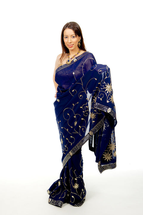 Lovely Blue Ready-Made Pre-Pleated Sari