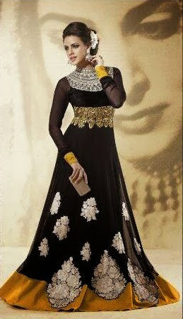 Elegant Designer Long Black Ready-made Anarkali