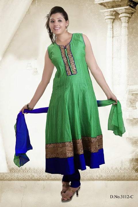 Beautiful Green And Blue Alluring Anarkali D-3112