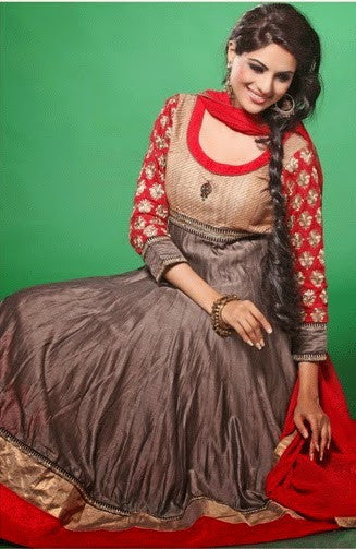 Shimmering Grey and Red Designer Anarkali D-5270