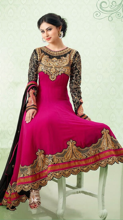 Glamorous Pink & Black Long Anarkali (D.No. 7005)