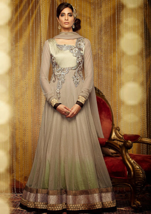 Charming and Grand Beige Designer Net Long Anarkali