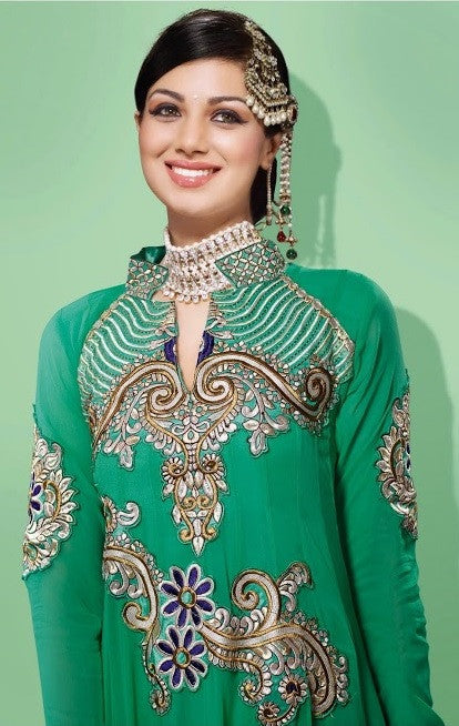 Enthralling Designer Mint Colored Shiffon Long Anarkali D-706