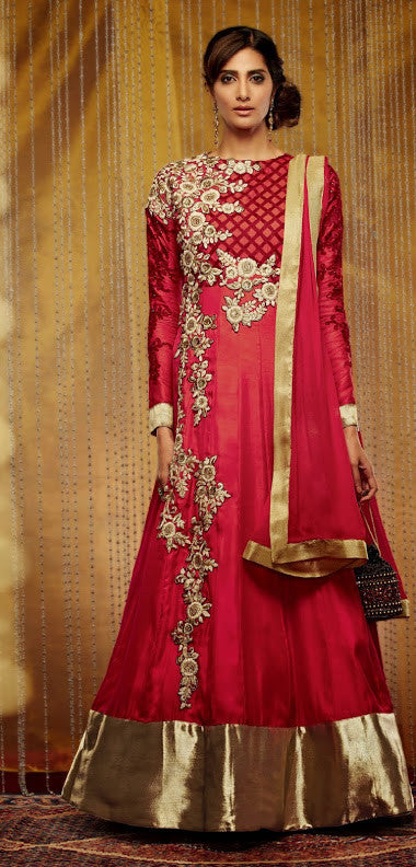 Exquisite and Scintillating Red Long Anarkali  (D. No. 709)