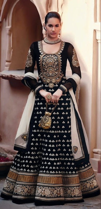 Mesmerizing  Jodha Style Designer Long Black Anarakali