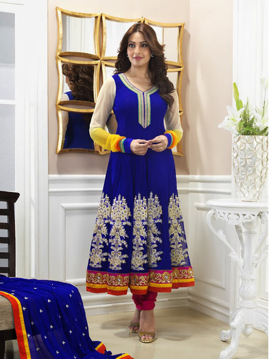 Elegant Royal Blue Anarkali  (D. No. 9064)