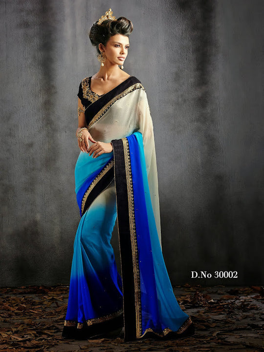Mesmerizing Shaded Blue and White Designer Saree D-30002
