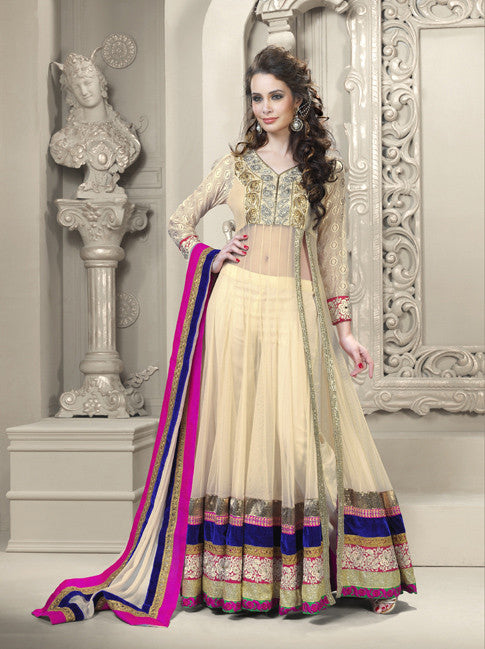 Elegant Long Beige Ready-made Anarkali