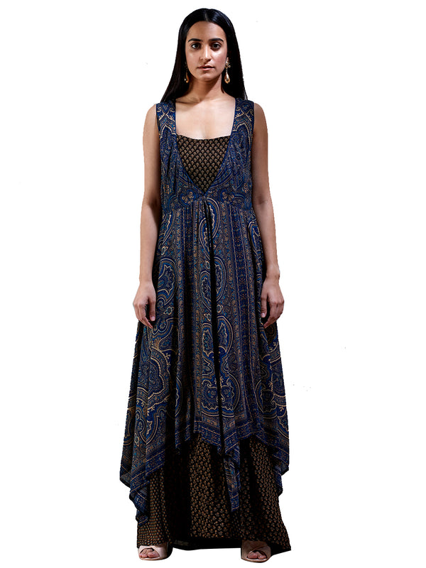 Ritu Kumar Indigo & Brown Printed Kurta Dress