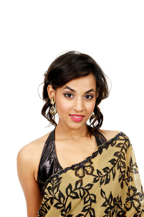 Gold and Black Traditional Indian Jewerly Earrings