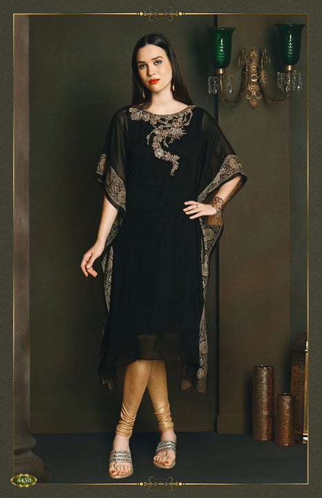 Exquisite Black and Gold Long Kurti Salwar Kameez