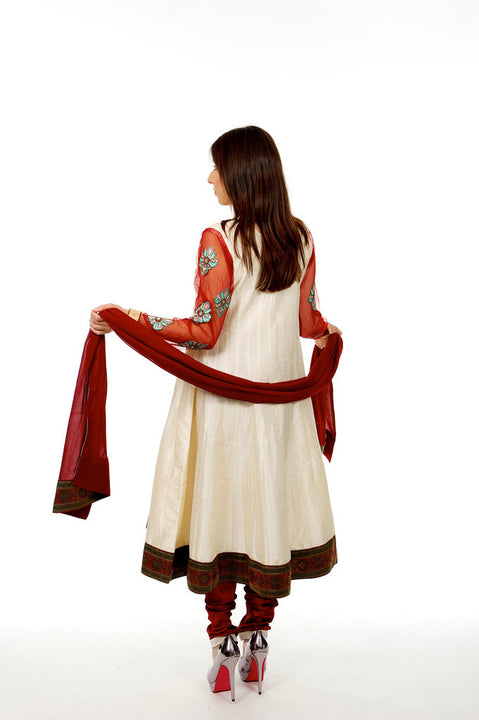 Elegance Beige and Red Anarkali