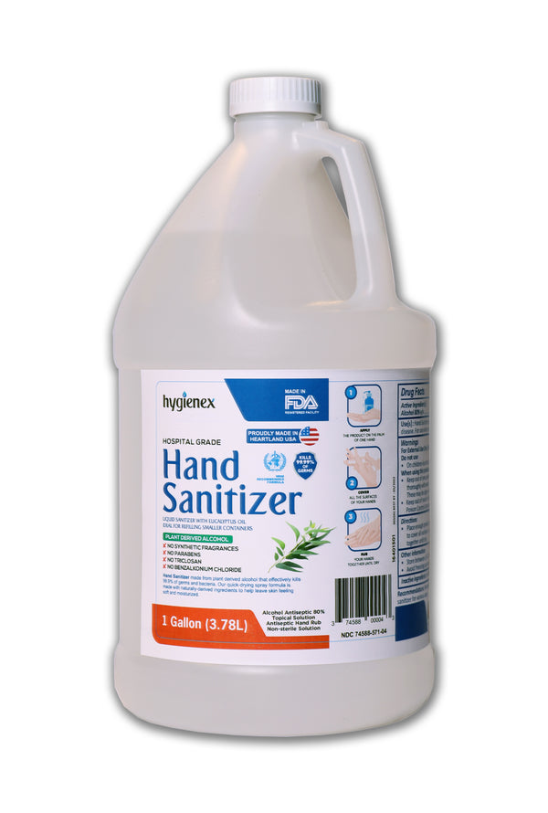 Hygienex Hospital Grade Hand Sanitizer 1 Gallon Liquid Refill Scented with Eucalyptus Oil, 80% Alcohol Made in USA WHO Approved Formula