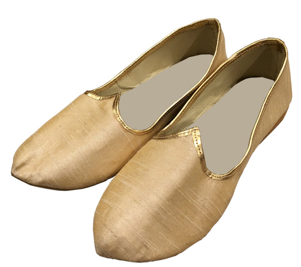 Beige and Gold Fancy Mojari Juti