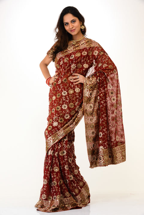 Heavy Maroon & Gold Reception Saree