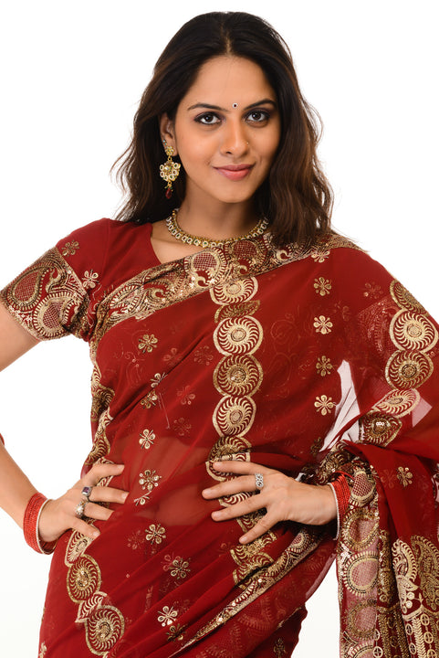 Heavy Red Party Saree