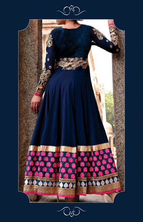 Divine Blue and Gold Embroidery Anarkali Churidar