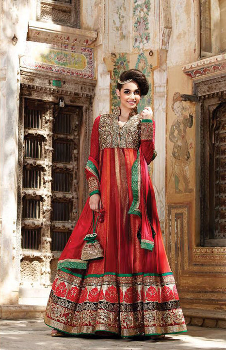 Stunning Royalty Red Anarkali Churidar
