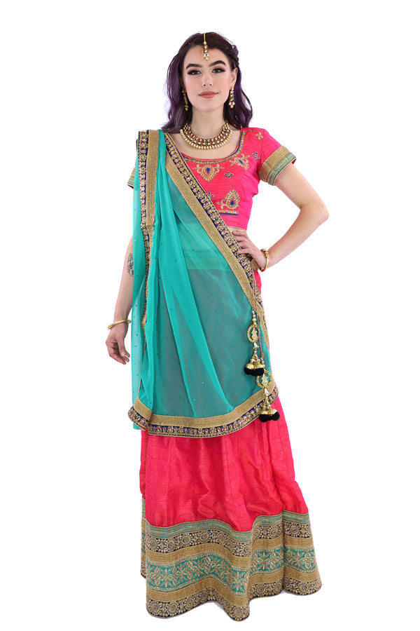 Electrifying Coral Pink and Teal Indian Wedding Lehenga (9002)
