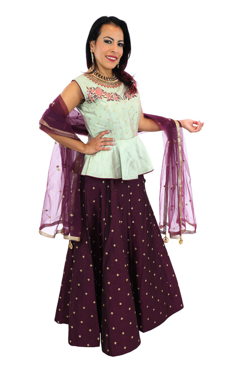 Plum and Mint Lehenga Rent or Buy