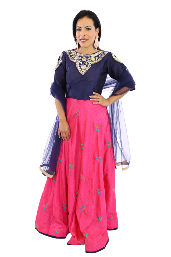 SALE - Classy and Chic Navy Blue and Pink Long Anarkali - 9209