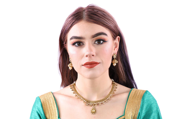 Delicately Divine Gold Necklace Set with Earrings - 0968