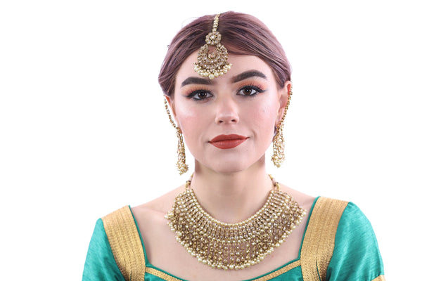 Aphrodite Gold Bridal Necklace Set with Earrings and Tika - 1029