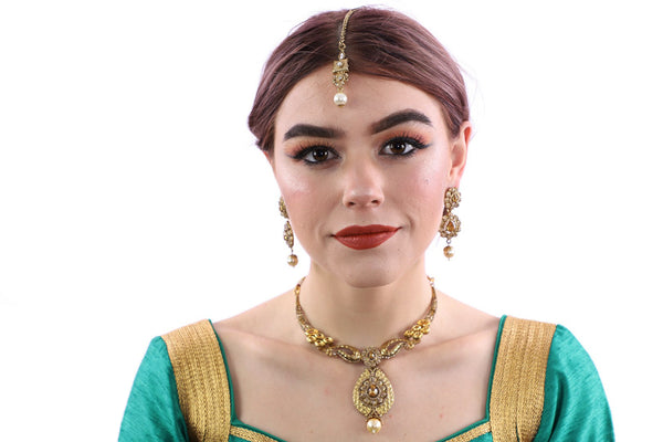 Dare to be Bold in Gold Necklace Set with Earrings and Tika - 1042