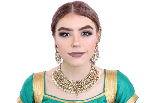 Dazzling Gold Necklace Set with Earrings - 1106