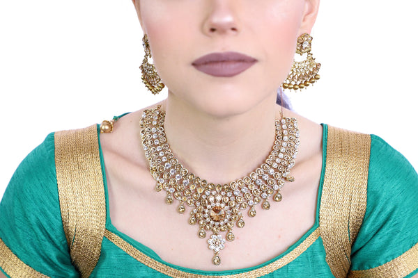 Brilliant Gold Necklace Set with Earrings - 1140