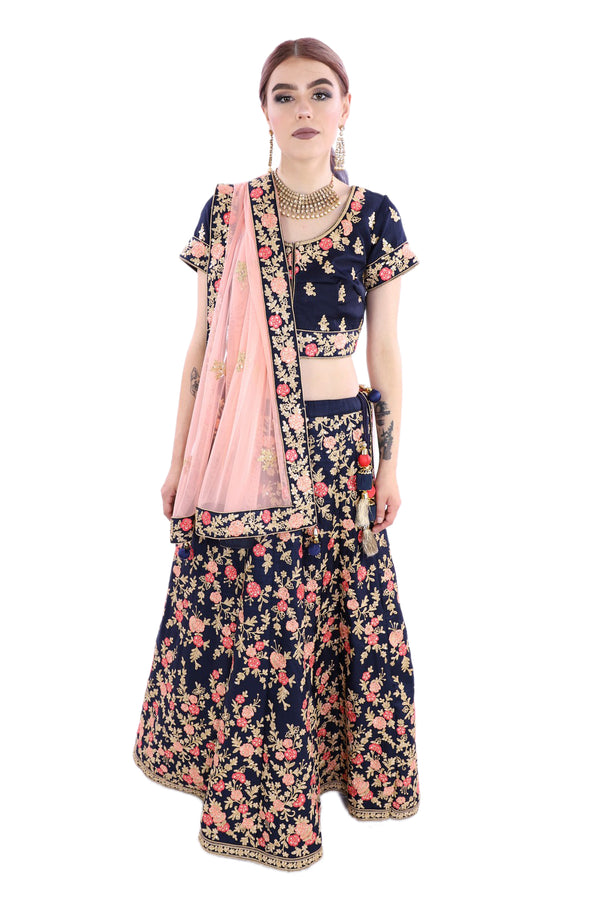 Beautifully Blooming Navy Blue Floral Embroidered Lehenga - 9052