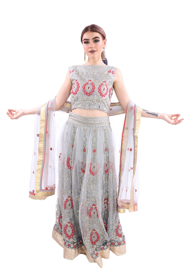 Star of the Show Shimmering Silver Embroidered Lightweight Lehenga - 9053