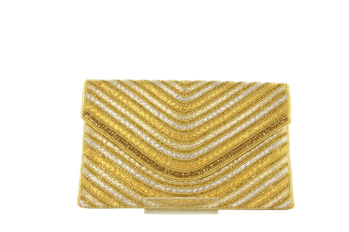 Glamorous Ribbed Rhinestone Indian Party Clutch