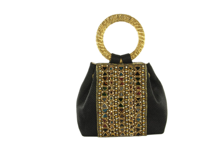Onyx Evening Party Purse With Rhinestones