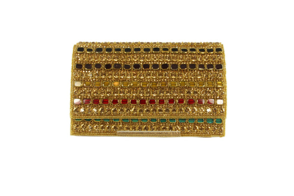 Designer Multi Color Rhinestone Indian Party Clutch
