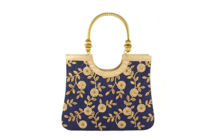 Floral Royal Blue Indian Party Purse
