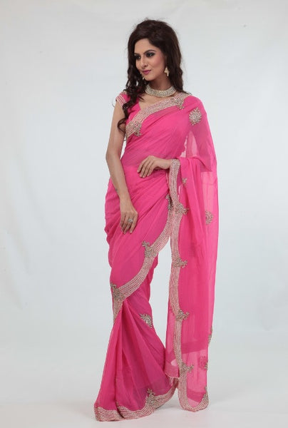 Charming Delicate Pink Pre-pleated Sari with Pearl Border