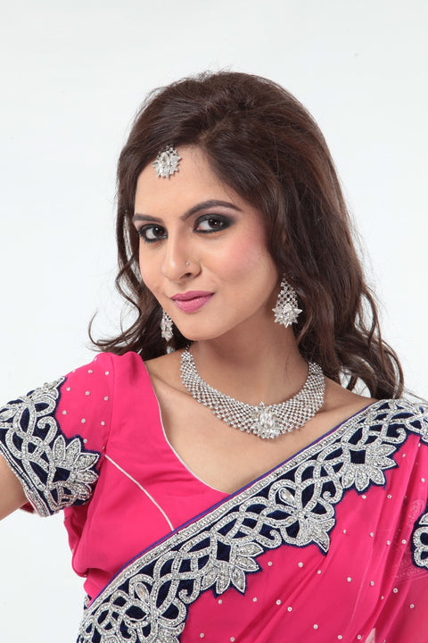 Alluring Pink Sari with Diamond Border